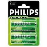 Philips battery longlife r20 1,5 volt 2 stuks op kaart