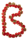 Basil flower garland, bloemenstreng, 180cm, rood