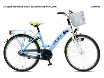 """Fiets bike fun  24"""" papillon meisjes anti mono wit/turkoois D24PP60"""
