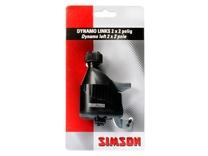 Dynamo Simson links met rubber loopwiel 2x 2polig zwart