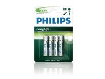 Philips battery longlife r03 aaa 1,5 volt 4 stuks op kaart